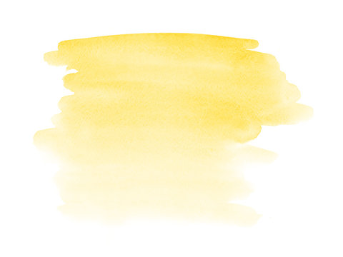 Yellow  watercolor hand drawn stain on paper texture
