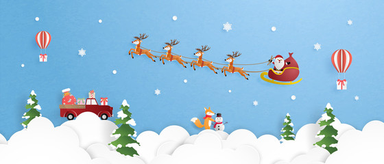 Merry Christmas and happy new year with reindeer and Santa Claus in sleigh flying in the sky over clouds in paper cut style. Vector illustration design for banner, wallpaper, banner, poster.
