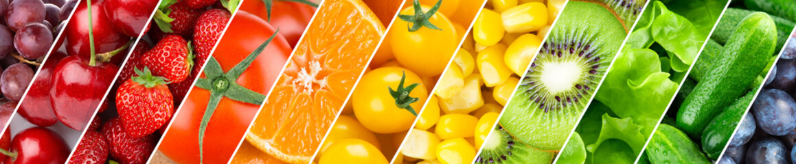Photo sur Plexiglas Cuisine Background of fruits, vegetables and berries