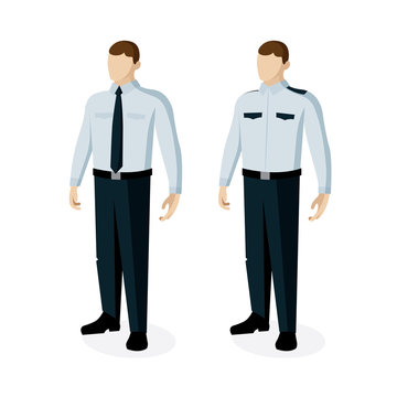 Security guard. Police officer vector illustrations set.