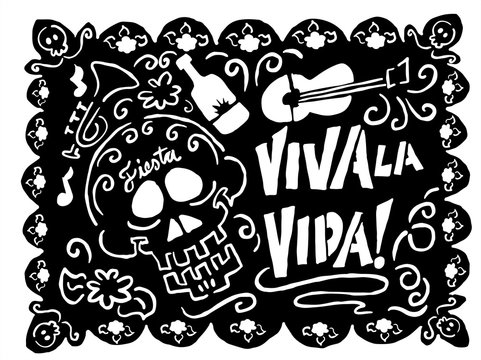 Day of the dead cut out paper - papel picado - black