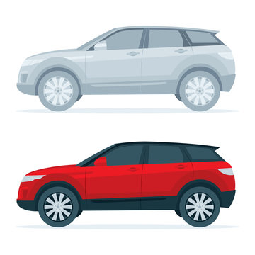 Crossover SUV. Realistic side view SUV car vector illustration. Sport utility vehicle.