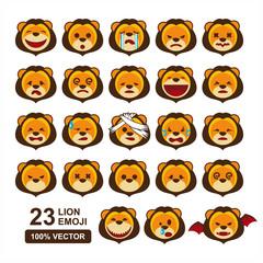 Lion Head Cartoon Emoji Vector Set of 23