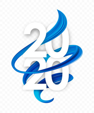 Happy New Year. Number of 2020 with blue abstract twisted paint stroke shape. Trendy design