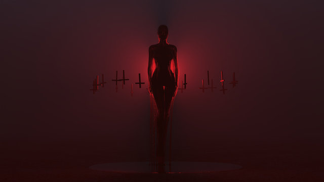 Evil Spirit Ghost Demon Floating Evil Blood Queen Vampire Dripping in Blood with Upside Down Floating Crosses Abstract Demon in a Red Foggy Void front View 3d illustration 3d render
