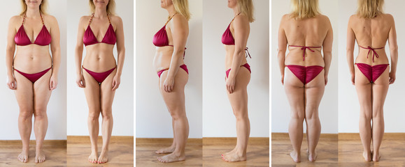 Woman posing at home before and after weight loss diet