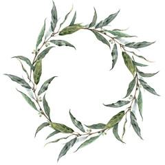 Watercolor laurel wreath