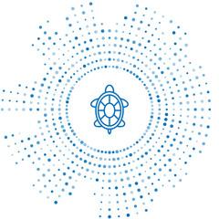 Blue line Turtle icon isolated on white background. Abstract circle random dots. Vector Illustration