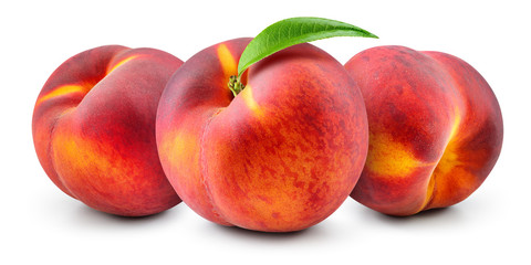 Peach isolate. Peaches with leaf on white. Full depth of field. With clipping path..