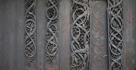 Ancient celtic artworks out of Urnes stavkirke, Norway