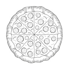 Pizza (pepperoni, onion) - black and white illustration/ drawing