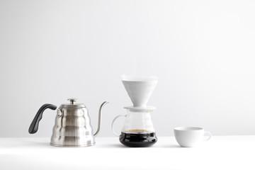 Drip coffee,Drip kettle,Black coffee make a coffee White scene
