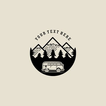 van life vintage logo vector