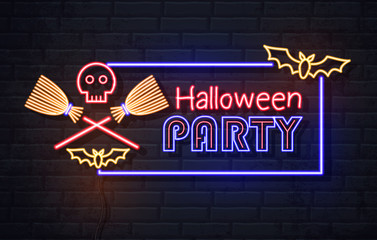 Neon sign halloween party with skull and wich broom. Vintage electric signboard. Fototapete