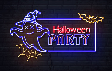 Neon sign halloween party with ghost and spider web. Vintage electric signboard. Fototapete