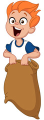 boy jumping in sack