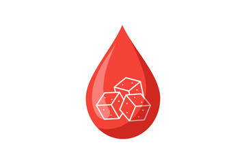 Blood drop with sugar pieces inside. Testing blood glucose concept. Diabetes world day. Vector illustration