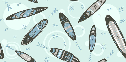 Stand Up Paddle Boarding SUP surfing elements cute seamless pattern vector illustration with supboard, waves in scandinavian style design on a blue background.