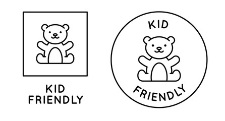 Kid friendly emblem with cute teddy bear - vector badges and icon designs in simple linear style