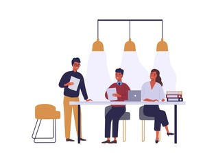 Business people meeting flat vector illustration. Coworkers cartoon characters discussion in conference room. Business partnership and negotiations. Employees coworking space isolated clipart.