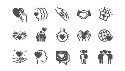 Friendship and love icons. Interaction, Mutual understanding and assistance business. Trust handshake, social responsibility icons. Classic set. Quality set. Vector