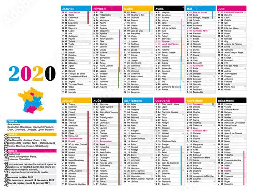 Calendrier 2020 Et 2020 Avec Vacances Scolaires.Calendrier 2020 France Avec Jours Feries Semaines Et