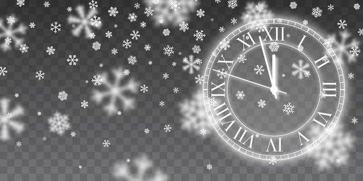 Vintage gold shining round clock. Christmas snow. Falling snowflakes on blue background. Snowfall. Vector illustration