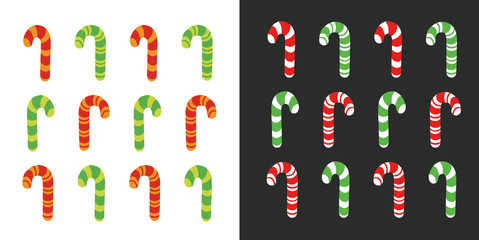 Christmas cane candy. Vector. Stick isolated on black and white backgrond.