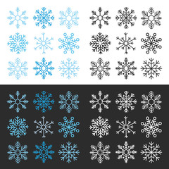 Several colors snowflake collection isolated on black and white background. Flat snow icon, snow flakes silhouette. Snowflakes for christmas.