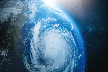 Aerial view from the space of a hurricane