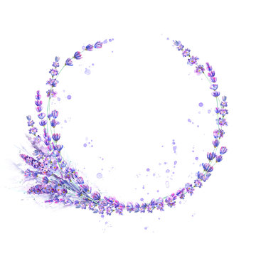 Lavender flowers purple watercolor round frame isolated on white background