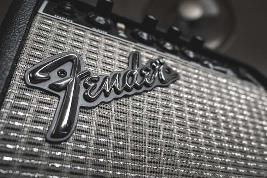 Bangkok, Thailand - March 26, 2018 : A Fender guitar brand logo on guitar amplifier.