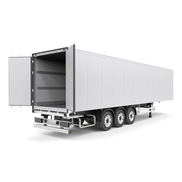Generic semi trailer isolated photorealistic 3D Illustration - back right view. with open doors.