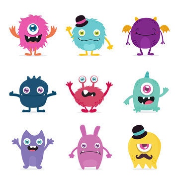 cute monster cartoon design collection design for logo and print product - vector