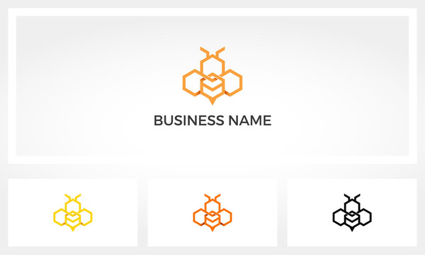 Bee Made From Several Hexagons Logo