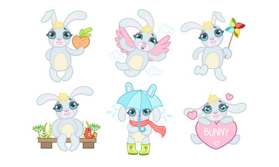 Wall Mural - Cute Adorable Bunny Character Set, Cheerful Lovely Animal in Different Situations Vector Illustration