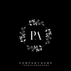 letter PA surrounded by beautiful and elegant flowers and leaves. Wedding monogram logo template. Fashion Logo template Vectors,