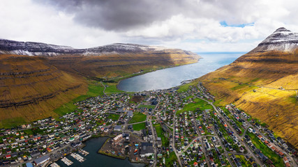 Wall Mural - Aerial panorama of the city of Klaksvik on Faroe Islands, Denmark