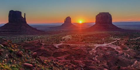Sunset in the Monument Valley