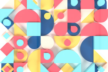 Abstract geometric background 3D illustration. Modern colorful pattern.