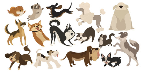 Set of funny dogs. Collection of cartoon playing dogs. Vector illustration of happy pets for kids. Set of purebred dogs.