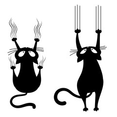 Set of black cats scratching the wall. Collection of silhouettes of cartoon cats climbing the wall. Vector illustration of a pet for kids. Tattoo.
