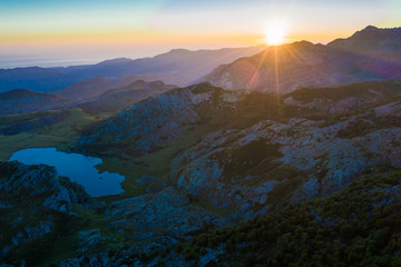 Mountain lake at sunset in Picos de Europa Natural Park. Spain