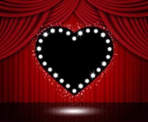 Red curtain background with black heart