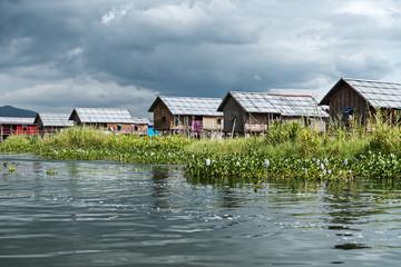 Houses on stilts in Inle lake. Myanmar - Burma - Birmania.