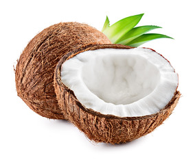 Coconuts with leaves on a white background. Coco - Image