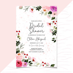 bridal shower with pretty floral frame watercolor