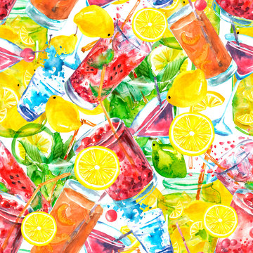 Seamless watercolor pattern with a drink, cocktail with lemon, ice, mojito, fruit juice,vodka, juice, drink, smoothies. Fruit lemon, mint leaf. Vintage drawing on white background. Art background