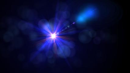 Bright blue light lense flare