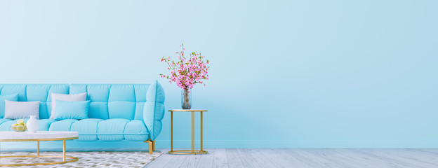 Living room interior wall mock up with pastel blue sofa, empty blue wall with free space on right 3D render 3D illustration Wall mural